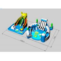 China 0.9MM PVC Tarpaulin Big Bear Inflatable Water Park With Large Blue Swimming Pool on sale