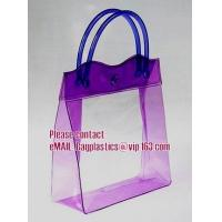 China clear pvc packaging bag with handle for wine, vinyl pvc zipper gift tote bags with handles, gift bag with plastic snap factory