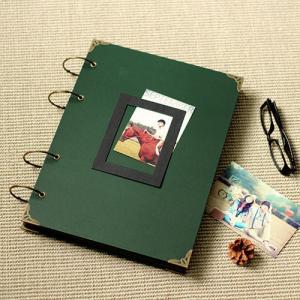 China Large Photo Album/ Scrapbook Album // Wedding Album // Wedding Guest Book/Dark green scrap on sale