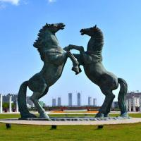 Buy cheap Huge japanese green jumping bronze horse statue garden public from wholesalers