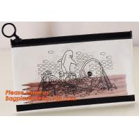 China A4 clear plastic pp document carrying file folder zipper lock pocket bag with small button file wallet factory