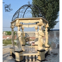 China Marble Gazebos Beige Garden Stone Lady Relief columns Hand-Carved With Iron Dorm factory