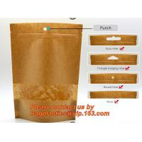 China custom resealable recyclable kraft paper square bottom zipper bag, standup Zipper seal Kraft Paper Coffee Bag with Side factory