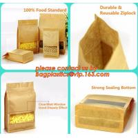 China stand up pouch biodegradable zipper bag kraft paper bag, Resealable Snack Stand up Zipper kraft paper Pouch Aluminum factory