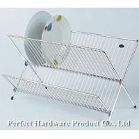Buy cheap Beautiful X shape durable 2-tier dish drying rack folding metal wire Dish rack PT-DR005 from Wholesalers