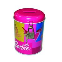 China round coin bank tin box with lock factory