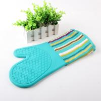 Buy cheap Half Silicone Half Cotton Heat Insulating Cooking Kitchen Oven Mitts Stripe Pattern from Wholesalers