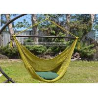 Quality 2 Person Hanging Caribbean Rope Chair 47 Inches Wide Olive Soft Spun Polyester for sale