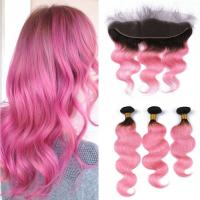 China Brazilian Human Hair Body Wave Hair 1B/Pink Color Bundles With 13*4 Frontal Lace Closure with baby hair factory