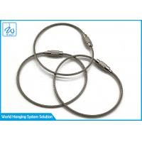 China Luggage Tag Wire Buckle Cable Loop Key Ring , Stainless Steel Wire Rope Keychain factory