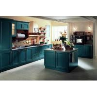 China Blue-green European-style classic membrane-pressed kitchen cabinet Country style flat kitchen on sale
