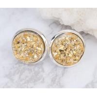 China Raw Stone Stud Druzy Stud Earring Fashion Women Unique Stud Earrings For Engagement on sale