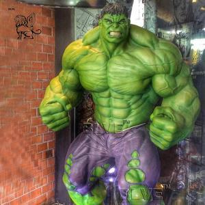 China Marvel Superhero Fiberglass Hulk Statue Life Size Resin Sculpture factory
