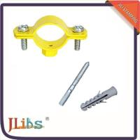 Durable Yellow Painting Pipe Holder Bracket , Round Pipe Clamps 20mm Width