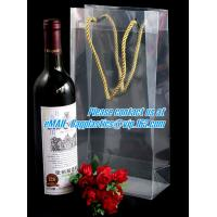 China Handle Wine Bottle Paper Bags With Two Side Logo,transparent wine gift pp bag, plastic bag with handles bagplastics pac factory
