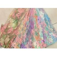 Buy cheap 3D Beaded Lace Fabric , Scalloped Multi Color Floral Embroidered Fabric For Skirt from Wholesalers