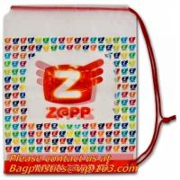 China PE Printed Hard, drawstring bags, Soft Loop Plastic Handle Bag with side gusset factory