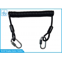 China Black Wire Coil Lanyard With 1 Screwgate For Working At Height Stop Drop Tools factory