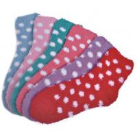 Buy cheap Polka dot pattern Polyester plush socks with aloe infused , spa socks from Wholesalers