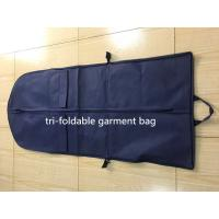 China Tri-foldable Suit Garment Bag navy non woven and polyester with shoe pocket factory