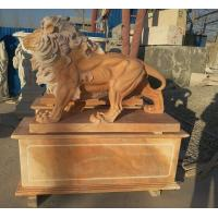 China Garden decoration Nature Stone walking lions statue pink marble animal sculpture,stone carving supplier factory