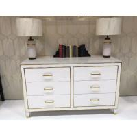 Quality White High Gloss Hotel Room Dresser 6 Drawers With Metal Strip , PU Lacquer Paint wholesale