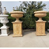 China Marble statue planter stone carvings flowerpot sculpture,outdoor stone garden products supplier factory