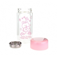 China Double Layer 9oz Personalized Glass Water Bottle Pink Color factory
