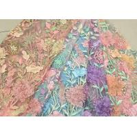Buy cheap Bead Embroidered Lace Fabric, Scalloped Multi Color 3D Flower Lace Fabric For Dress from Wholesalers