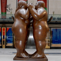 China Bronze Fat Lady Statue metal Two Abstract Fernando Botero Sculpture factory