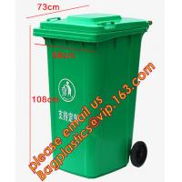 China Plastic Wheeled Trash Can Outdoor urban facilities color coded waste bin, Outdoor no wheels trash bins, BAGPLASTICS PAC factory