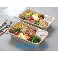 Buy cheap Biodegradable Microwave Bamboo Sugarcane Bagasse Food Container,Eco friendly disposable sugarcane food container with li from Wholesalers