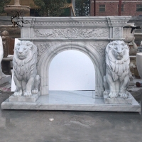 China Marble Lion Sculpture Stone Modern Garden Decoration Hand-carved White Life Size factory