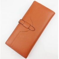 China Orange Leather 19.5cm Personalized Zipper Wallet factory