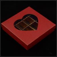 China Base And Lid Cardboard Boxes , Valentine'S Day Chocolate Box With Plastic Window on sale