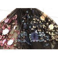 Buy cheap Flower Embroidered Sequin Lace Fabric , Multi Colored 3D Flower Mesh Lace Fabrics from Wholesalers