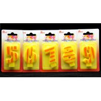 Buy cheap Number Birthday Candles 0-9 Yellow Candle  with Orange color Stripe Painting from Wholesalers
