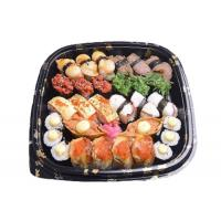 China Good Square Disposable Salad Boxes PS Plastic Sushi Tray L300*W300*H50mm on sale
