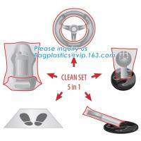China Protective automobile products steering wheel cover, Protector set steering wheel gearstick airbrake seat cover foot mat factory