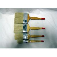 White Bristle Flat Paint Brush With Fesiform Wooden Handle , Paint Brushes For Walls