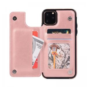 China iPhone11 Flip Card Holder Pink ODM Leather Flip Cover factory