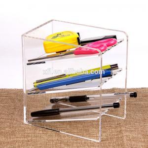 China 3 Tier Acrylic Shop Display Pen Holder Acrylic Stationery Shelf Display Rack Customized Logo factory
