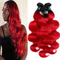 China Ombre Bundles With Closure Brazilian Body Wave 3 Bundles With Closure Pre-Colored 1B/Red factory