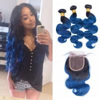 China Pre-Colored Brazilian Body Wave Human Hair Bundles With Closure Ombre Color 1B/Blue Remy Hair 3 Bundles With Closure factory