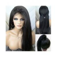 Buy cheap Straight Natural Black 100% Premium Virgin Human Hair Lace Front Wig 180%  Density With Bundles from Wholesalers