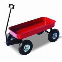 China Tool Cart/Trailer with Wooden Guardrail, Steel Tray and 15kg Loading Capacity factory