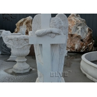 China Marble Crying Angel Tombstone White Cemetery Natural Stone Hand Carved factory