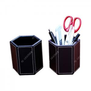 China Pen Stand PU Leather 9cm Office Stationery Holder factory