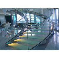 Buy cheap 316s.s indoor curved glass staricase with tempered clear glass railing top railing from Wholesalers