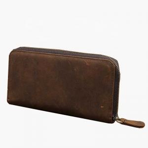 China Vintage Genuine Leather 10cm Zipper Change Purse factory
